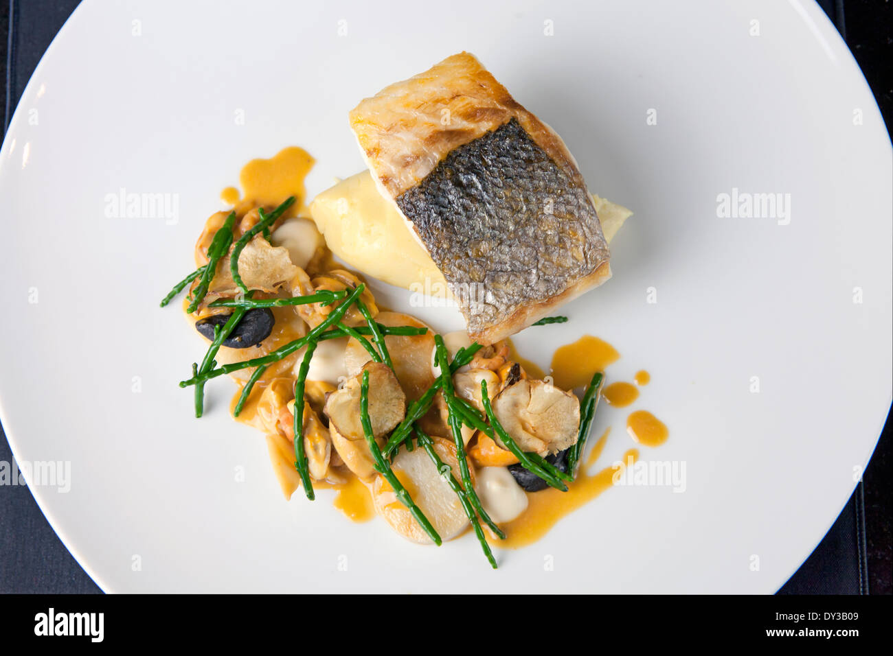 Seared white fish with mash and samphire - Stock Image