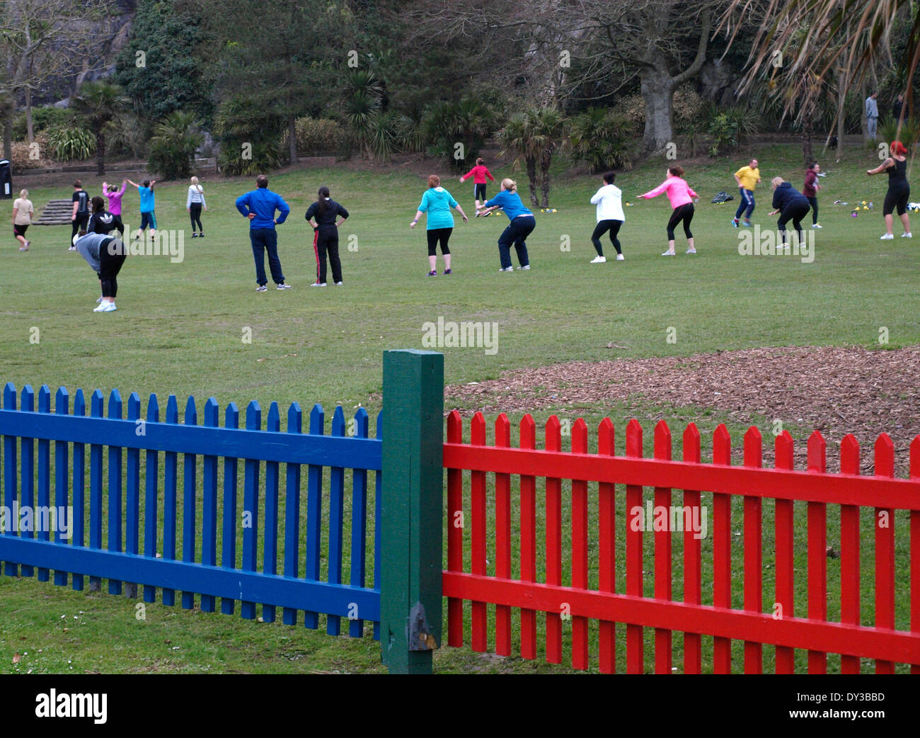 Keep fit club in the park, Plymouth, Devon, UK - Stock Image