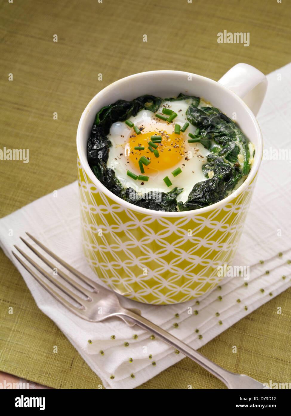 Eggs Florentine - Stock Image