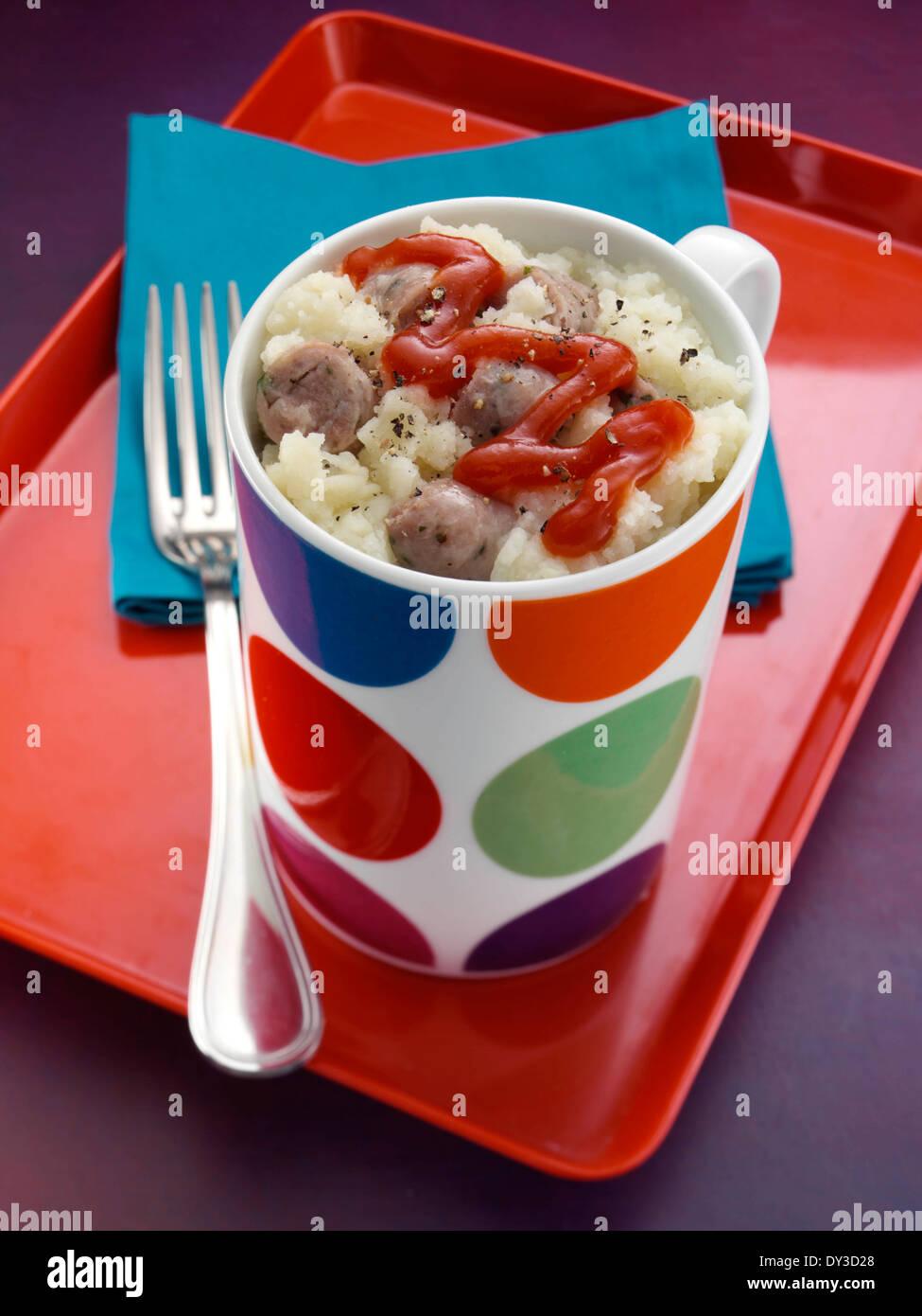 Sausage and mash - Stock Image