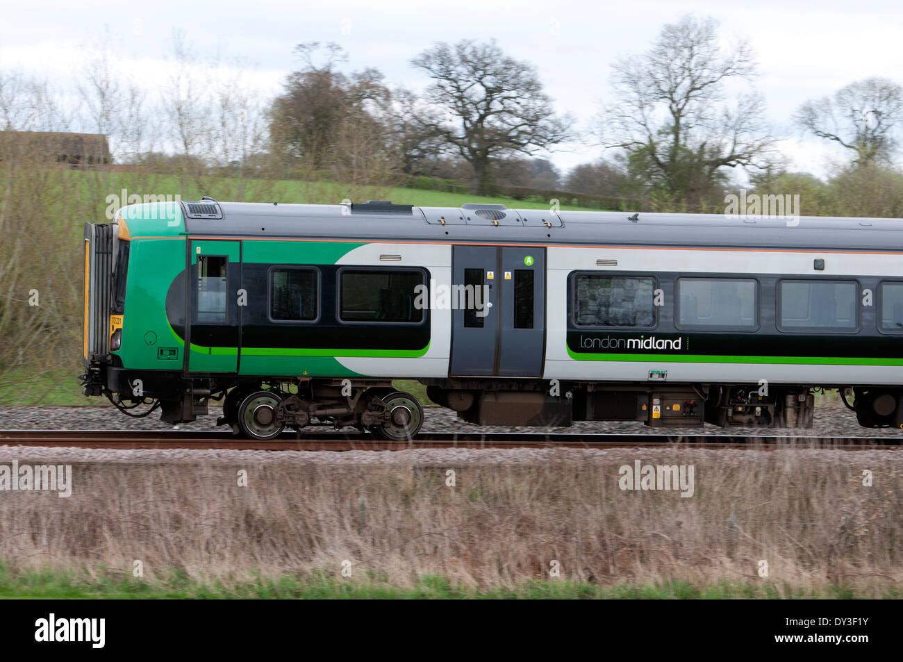 London Midland train, Hatton North Junction, Warwickshire, UK - Stock Image
