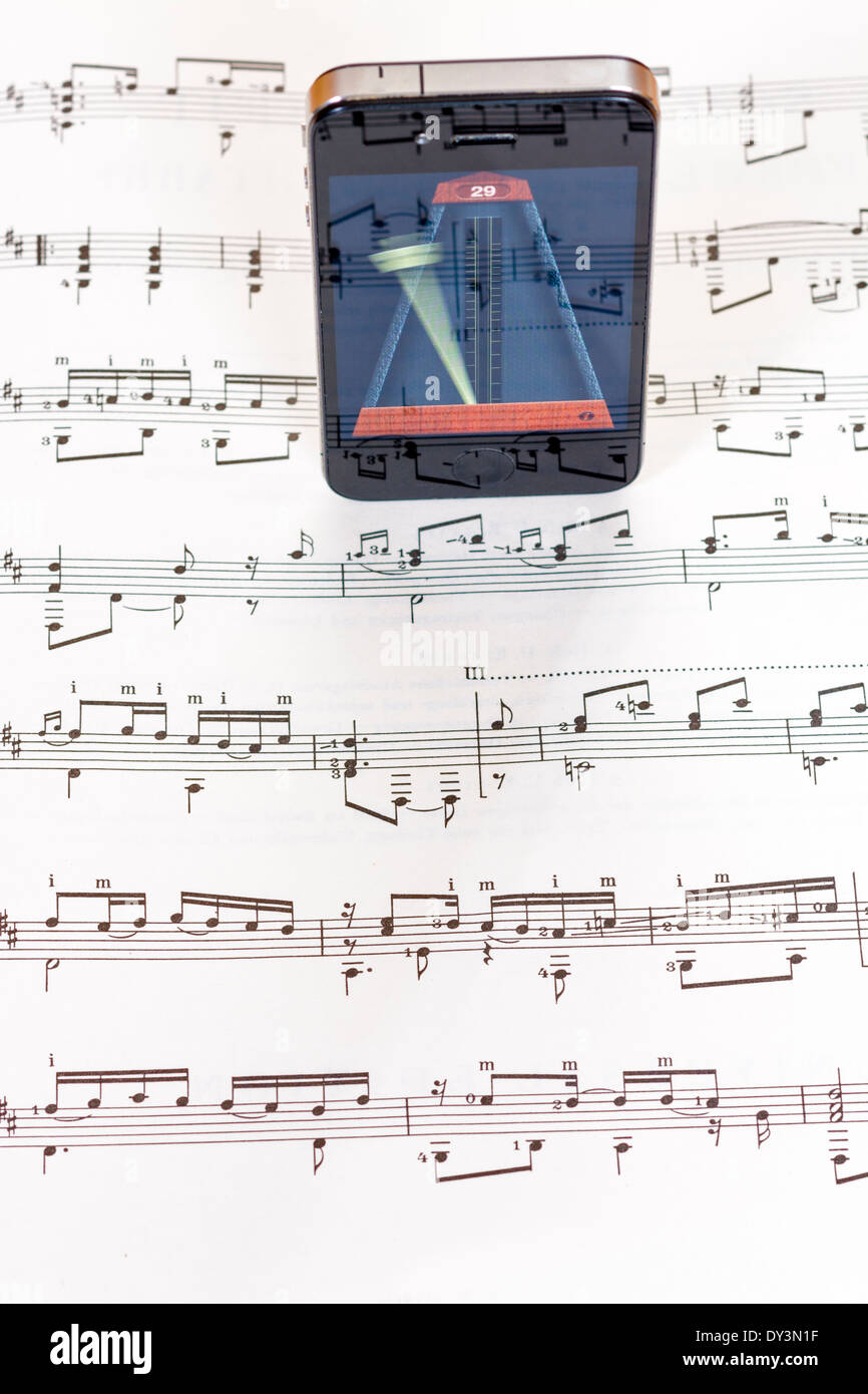metronome app helps to keep time to the music - Stock Image