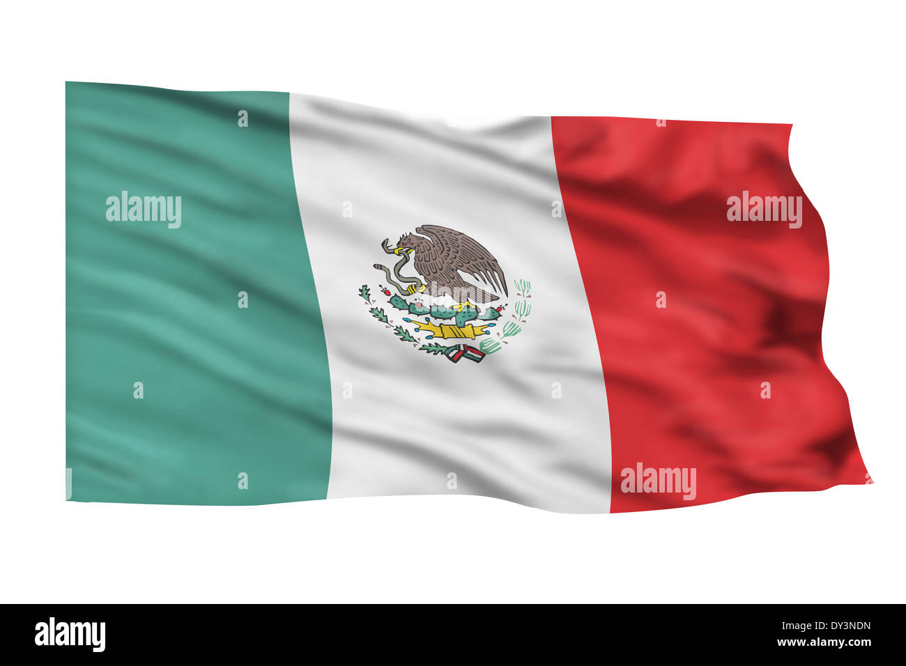 Mexico flag flying high in the sky. - Stock Image