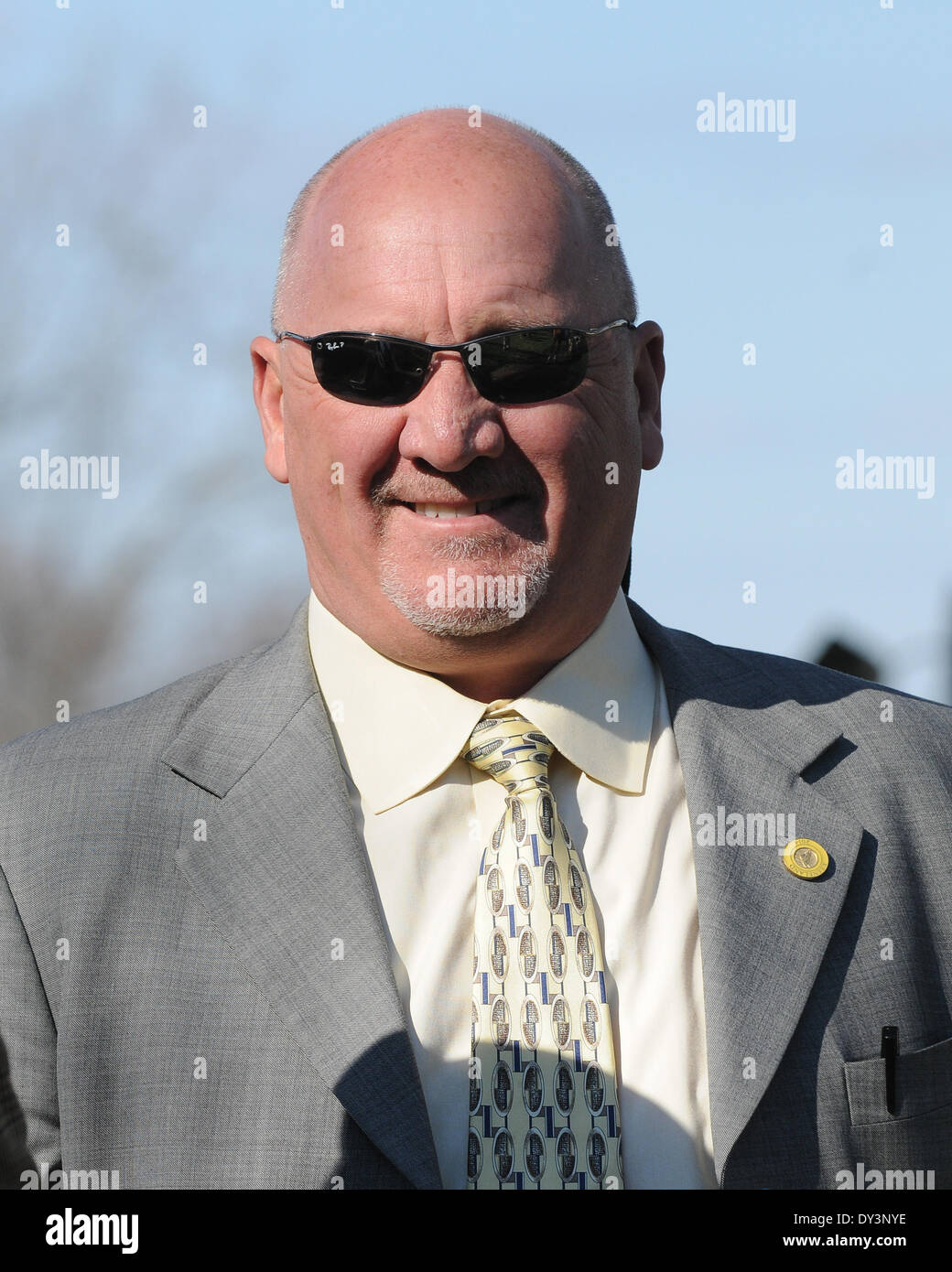Lexington, KY, USA. 5th Apr, 2014. April 05, 2014:Trainer Kenny McPeek, whose filly Rosalind dead heated for the Stock Photo