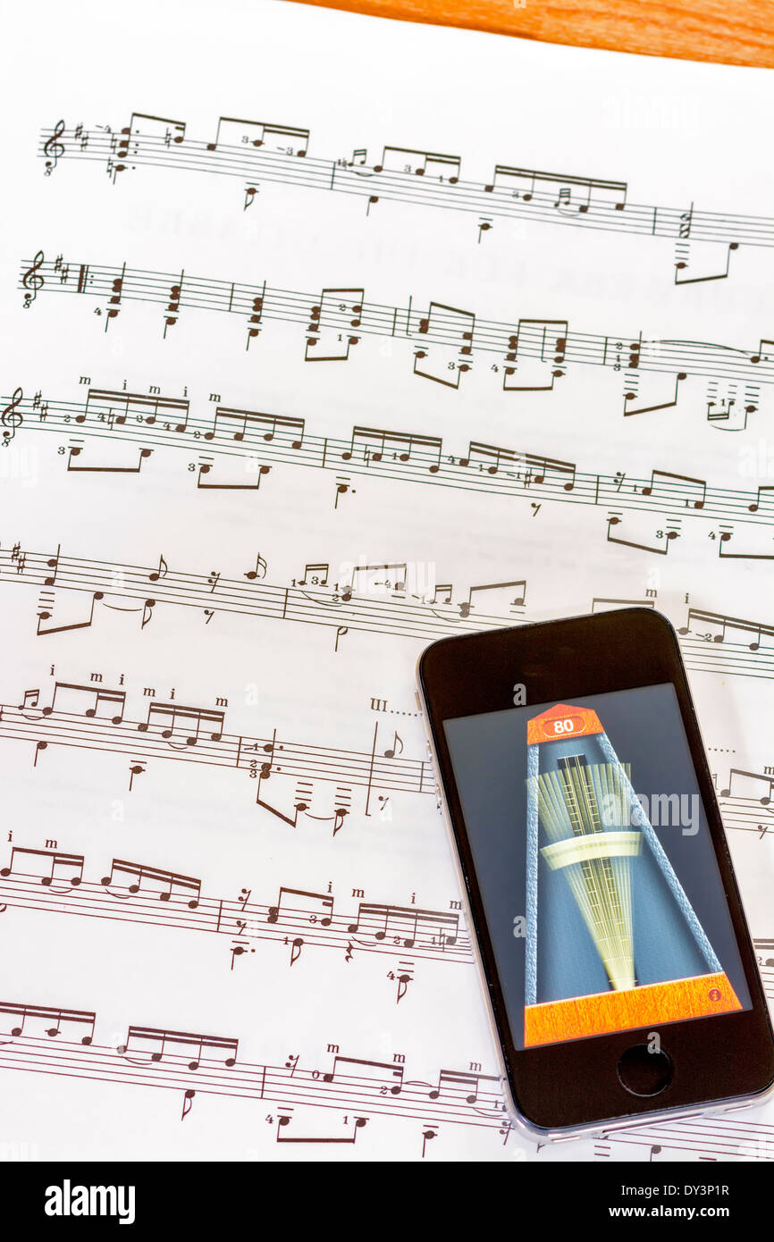 metronome used to practice music - Stock Image