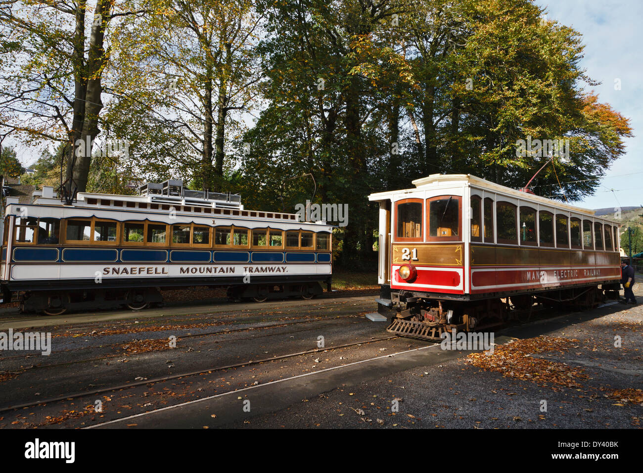Snaefell Mountain Railway and Manx Electric Railway trams at Laxey, Isle of Man - Stock Image