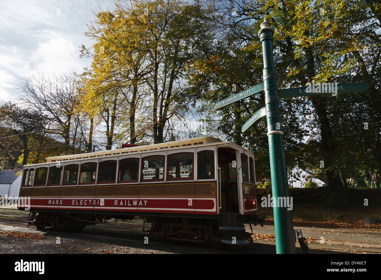 Manx Electric Railway tram at Laxey, Isle of Man - Stock Image