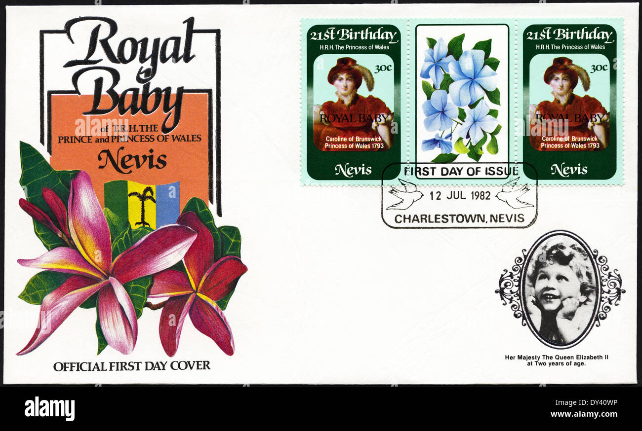 Commemorative first day cover Nevis postage stamps 21st Birthday of HRH The Princess of Wales overprinted ROYAL BABY on birth of Prince William postmarked Charlestown Nevis 12th July 1982 - Stock Image