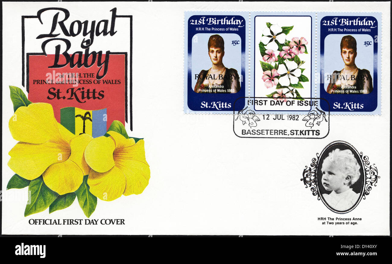 Commemorative first day cover St Kitts postage stamps 21st Birthday of HRH The Princess of Wales overprinted ROYAL - Stock Image