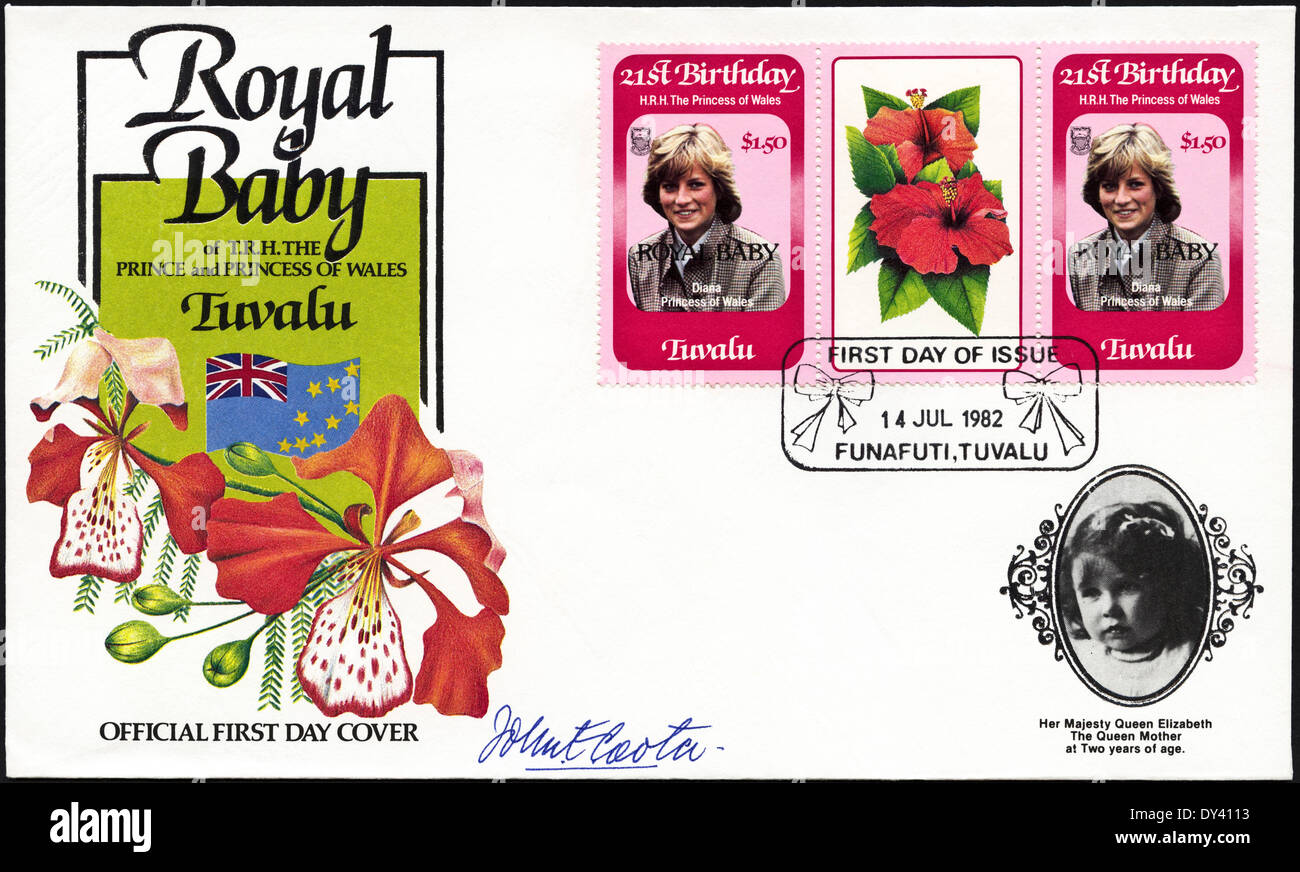 Commemorative first day cover Tuvalu postage stamps 21st Birthday of HRH The Princess of Wales overprinted ROYAL - Stock Image