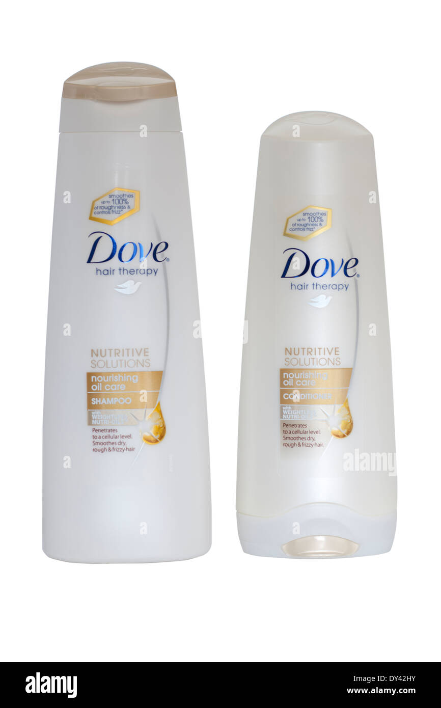 Two containers Dove Nourishing Oil Care Hair shampoo and conditioner - Stock Image