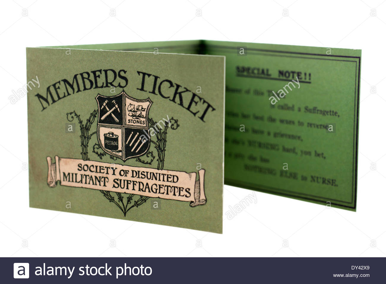 Vintage members ticket for the Society of Disunited Militant Suffragettes: EDITORIAL ONLY - Stock Image