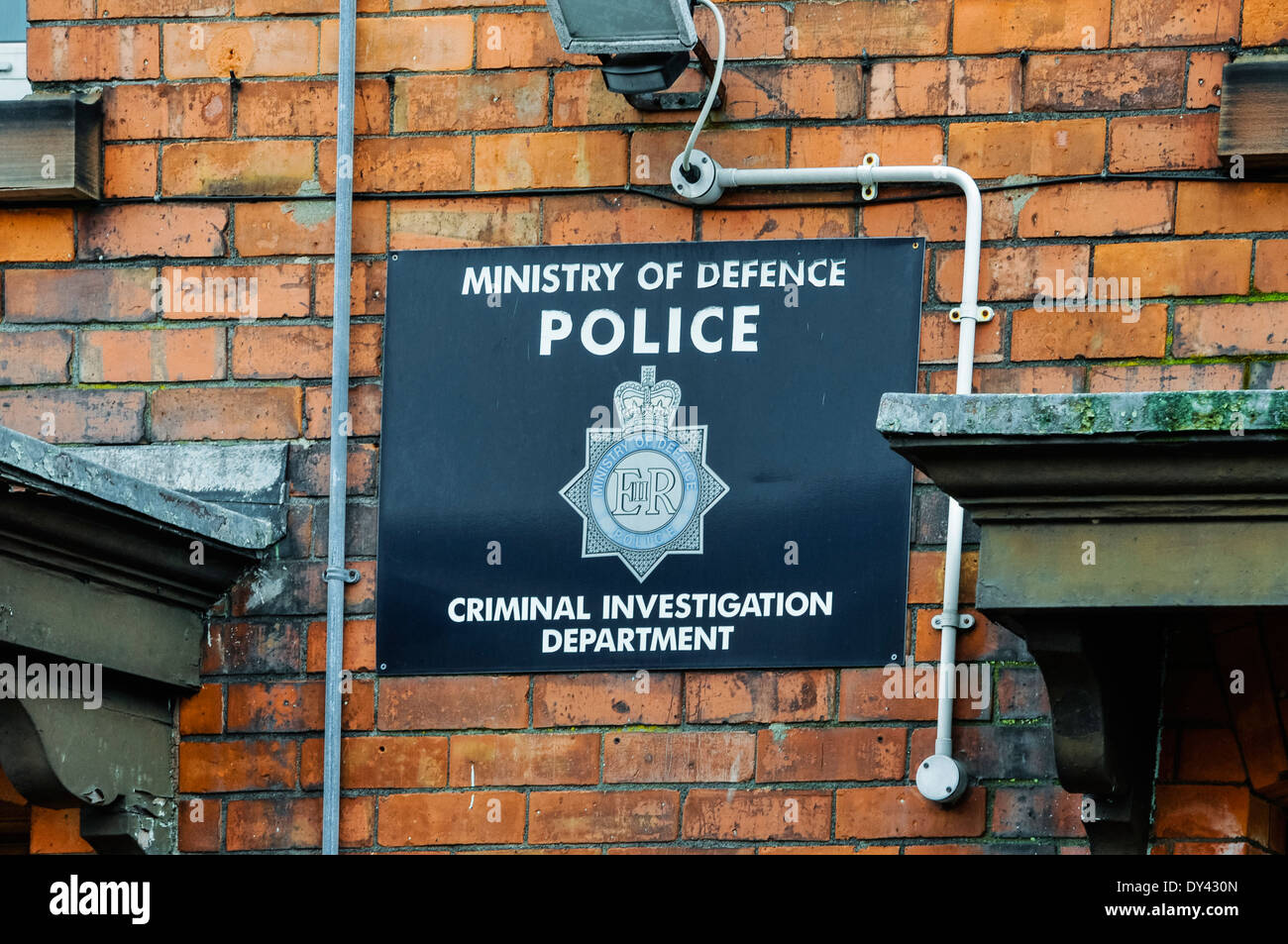 Sign at a Ministry of Defence Police Criminal Investigation Department - Stock Image