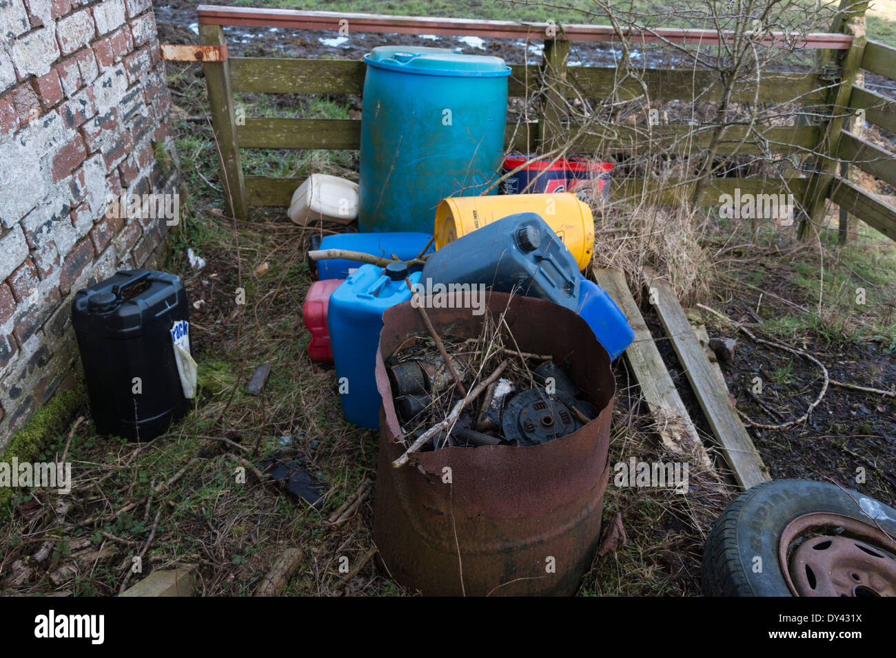 Discarded waste in the countryside. - Stock Image