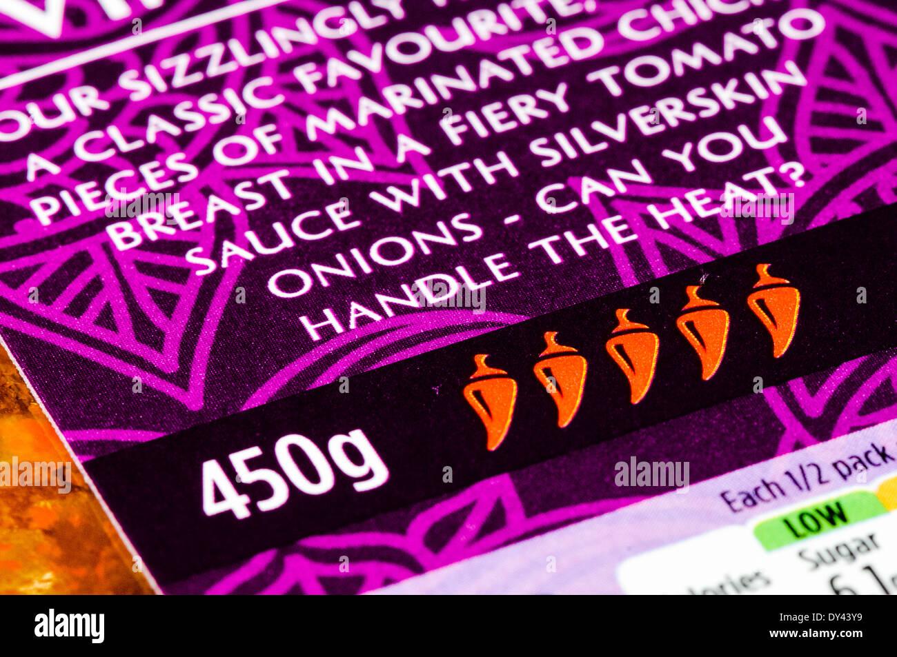 Fivi chilli mark on a pack of hot vindaloo - Stock Image