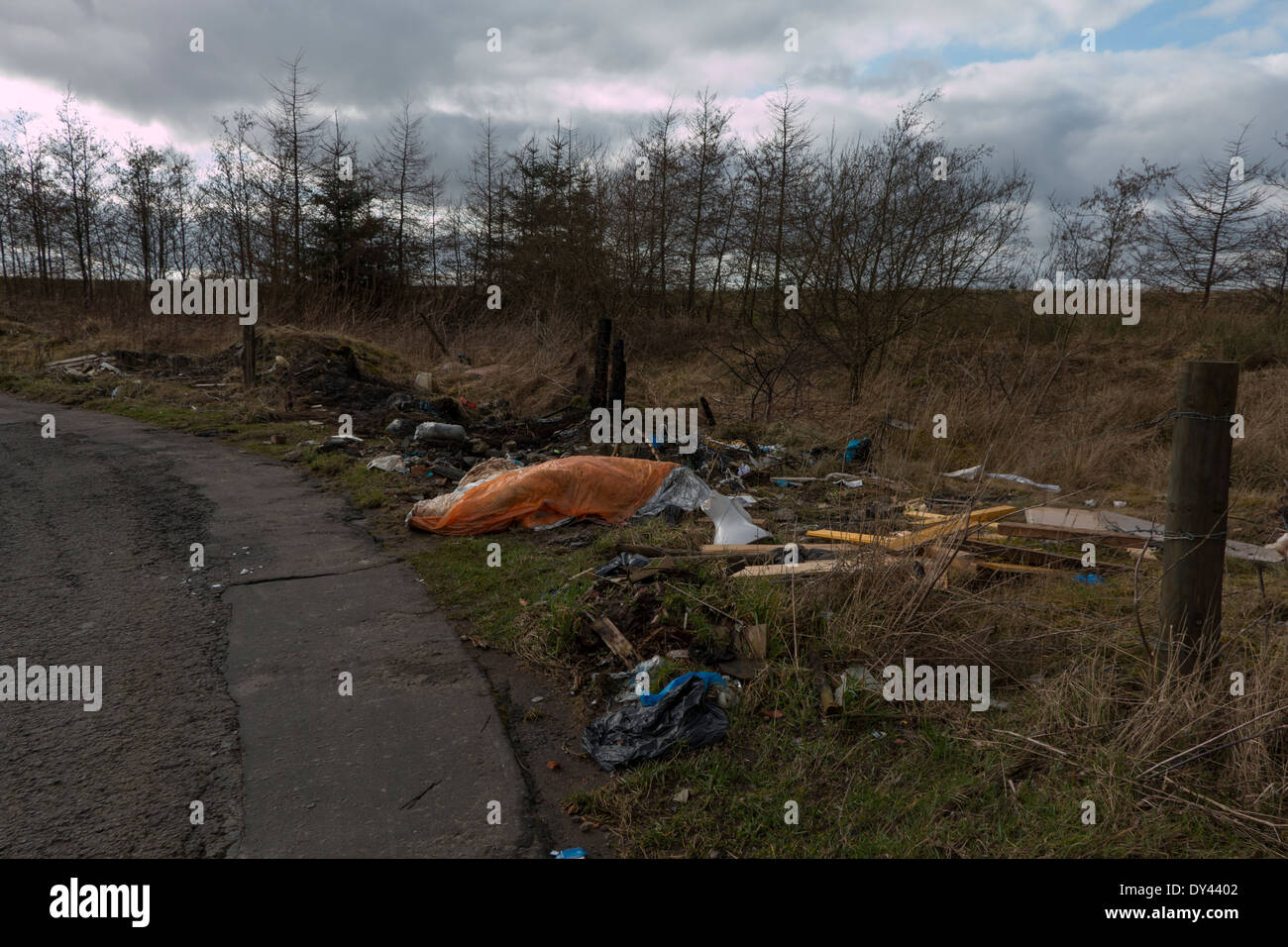 Waste discarded in the countryside. - Stock Image