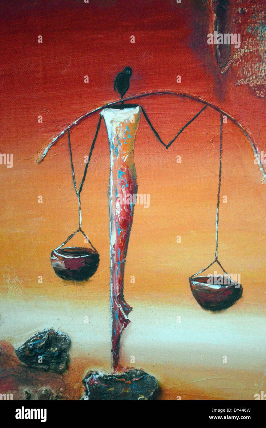 African Art Abstract Painting Of African Woman Carrying Water On