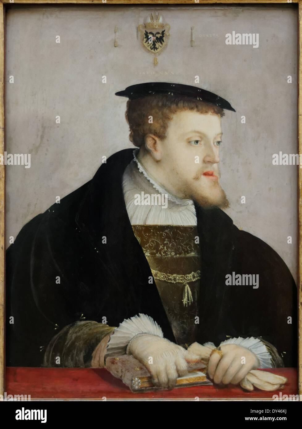 Christoph Amberger - Kaiser Karl V- 1532 - XVI th Century - German School - Gemäldegalerie - Berlin - Stock Image