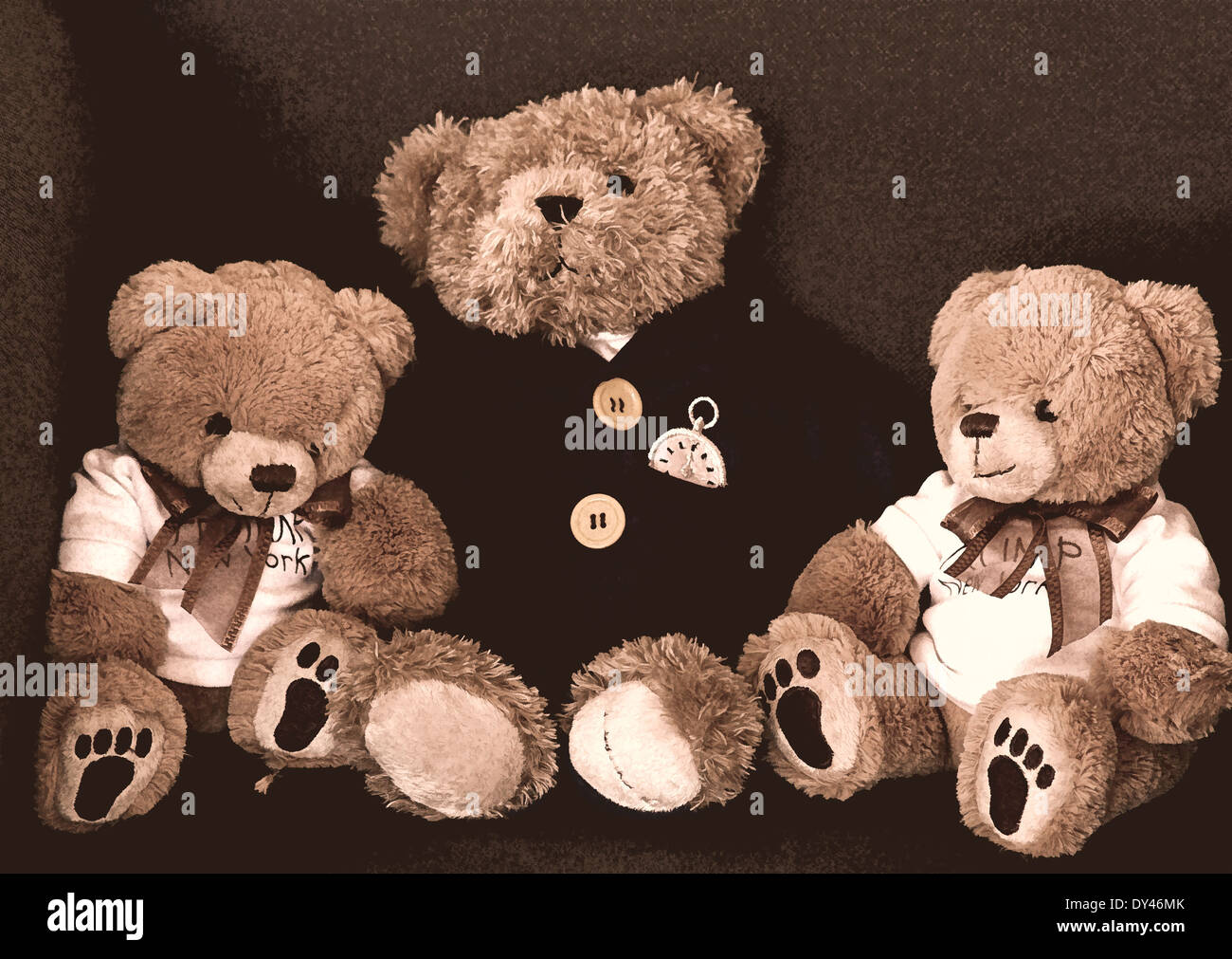 Collection of cuddly teddy bears seated in an armchair. - Stock Image