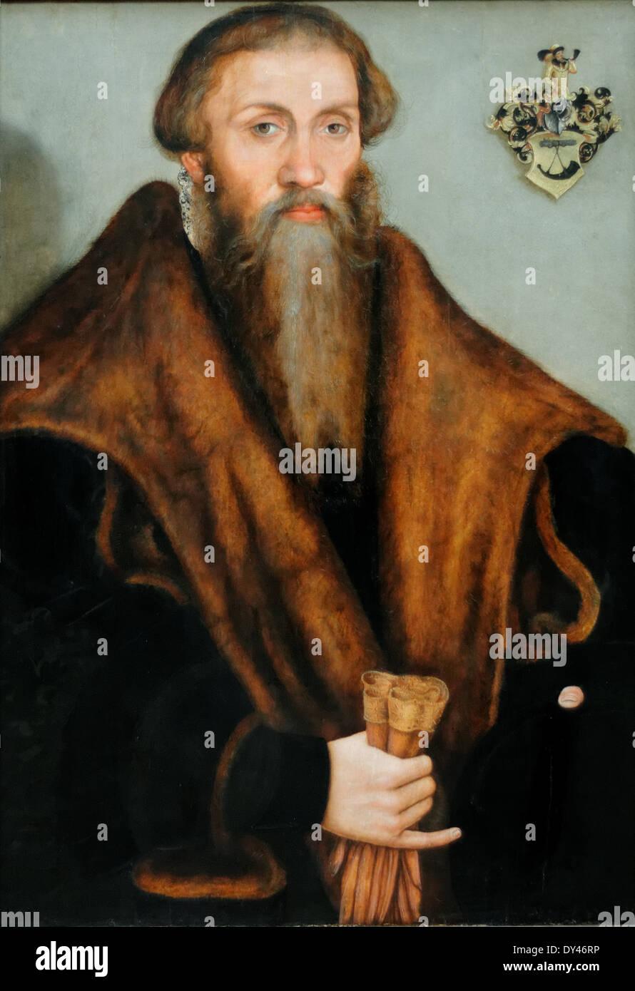 Lucas Cranach - The Jurist Leonhard Badehorn - XVI th Century - German School - Gemäldegalerie - Berlin - Stock Image