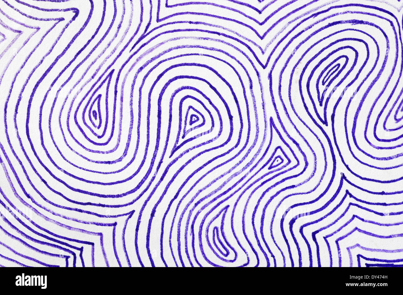 concentric curved purple lines drawn on paper by hand - Stock Image