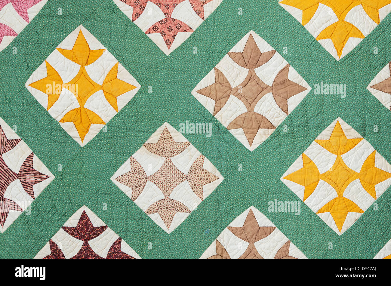 antique hand made quilt from the eastern US made in the late 1800s - Stock Image