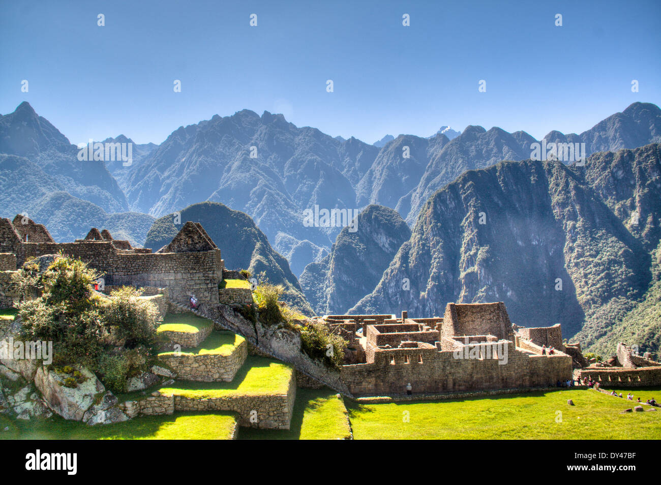 Machu Picchu in the sacred valley of Peru - Stock Image