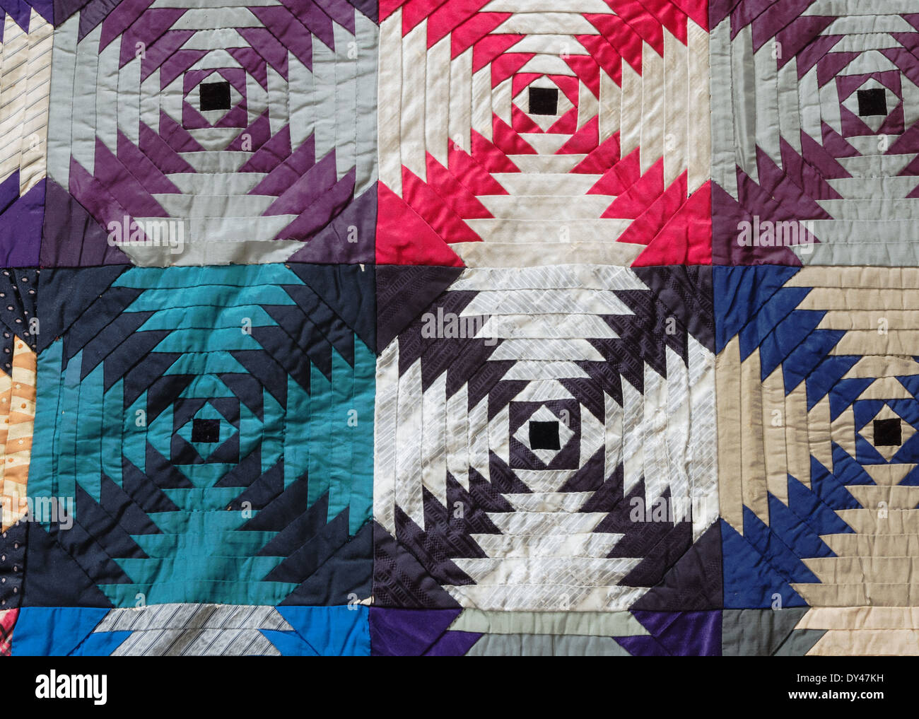 vintage pineapple hand stitched quilt detail - Stock Image
