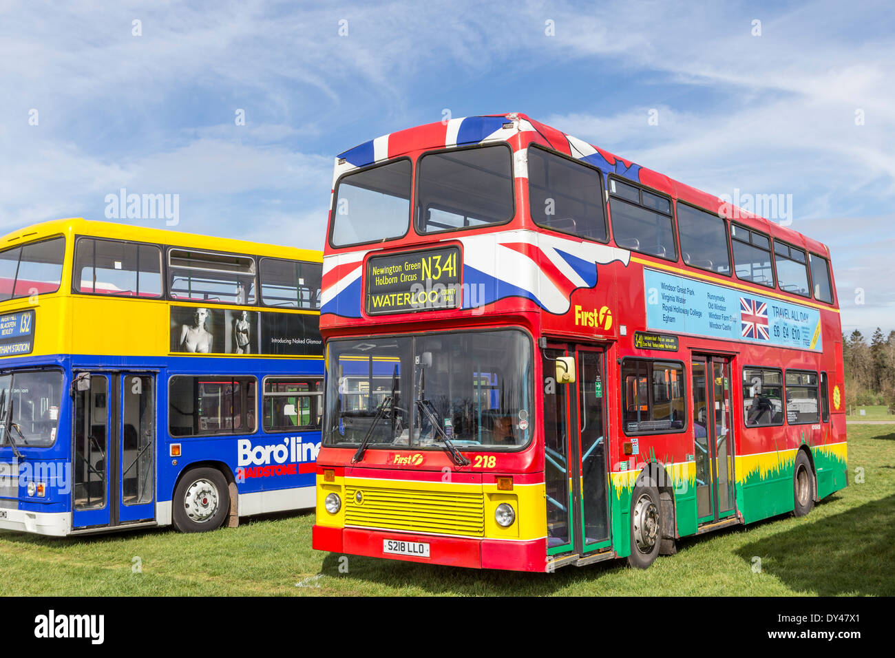 Colourful Modern Buses at Display of Heritage Vehicles - Stock Image