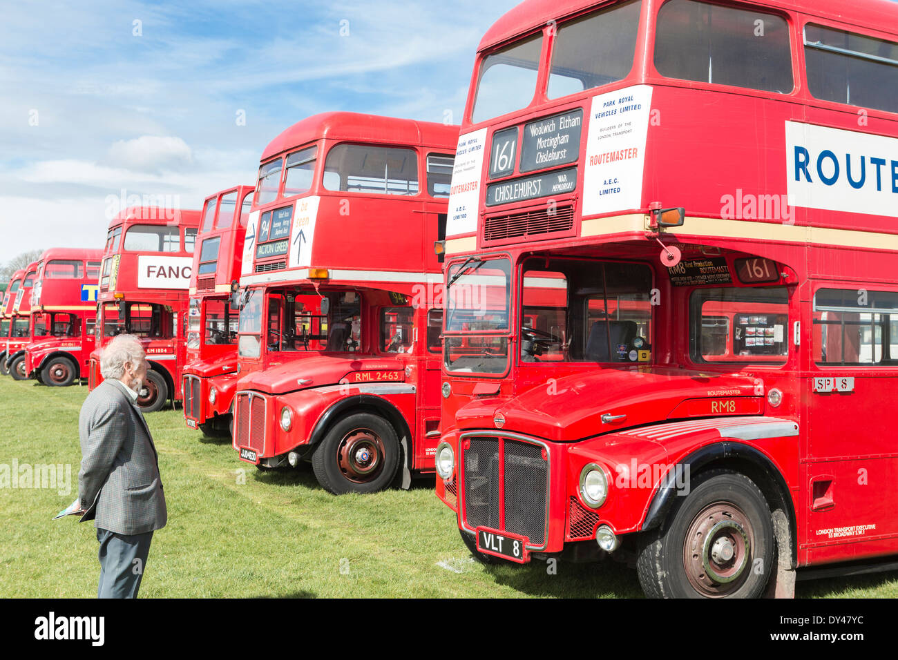 Elderly Man Reminiscing Routemaster Buses - Stock Image