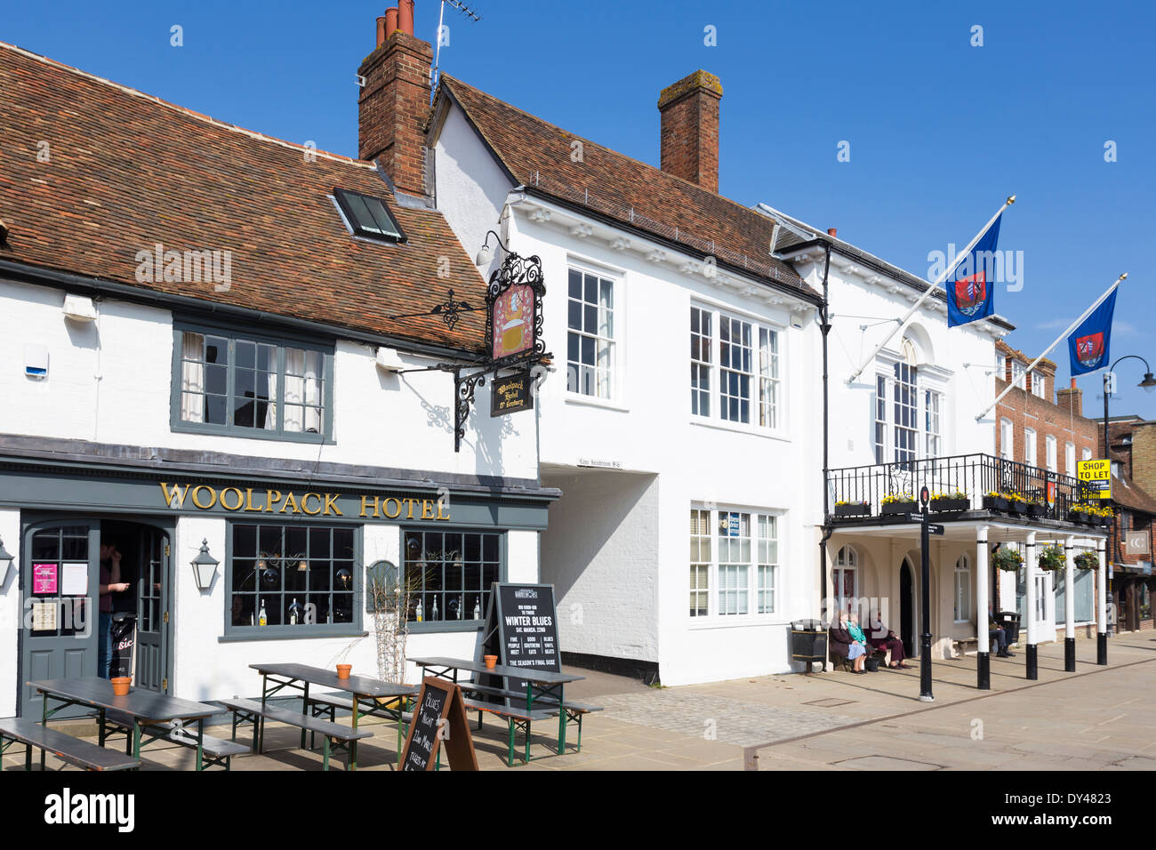 Woolpack Inn and Town Hall Tenterden Kent - Stock Image