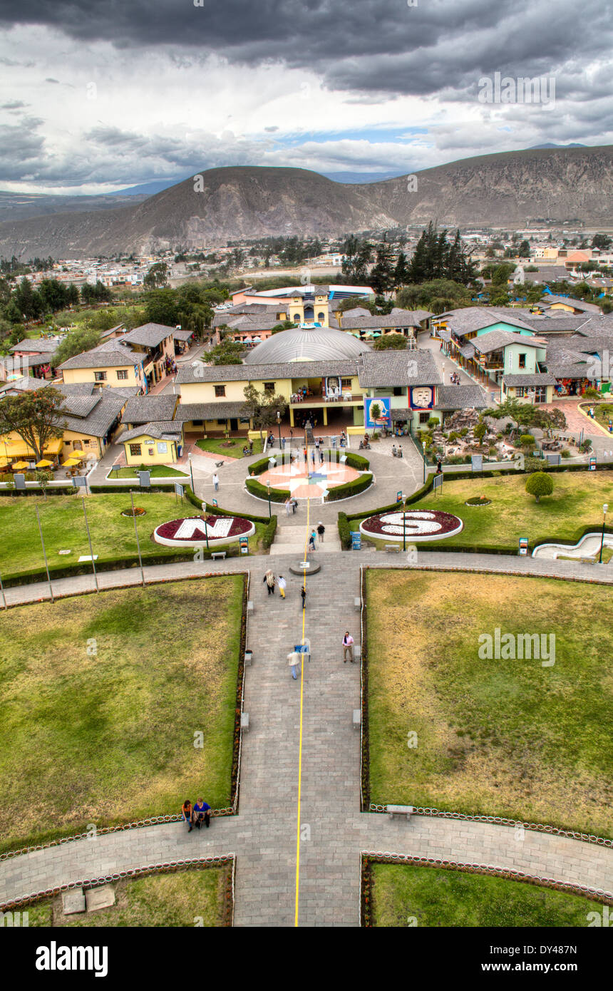the equator at Mitad del Mundo in Ecuador - Stock Image