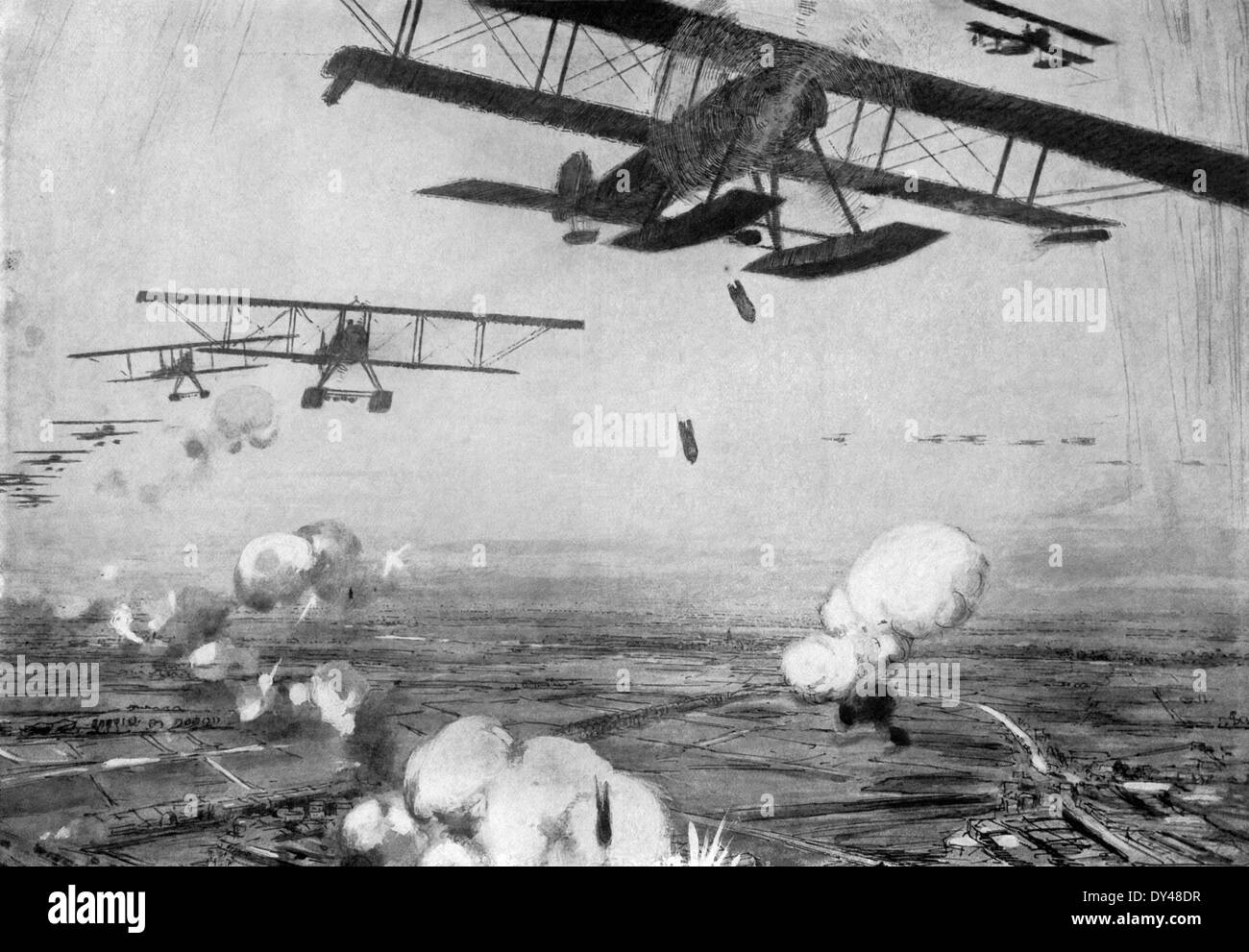 This contemporary illustration shows German bases in Belgium during World War I being attacked by Allied planes. - Stock Image