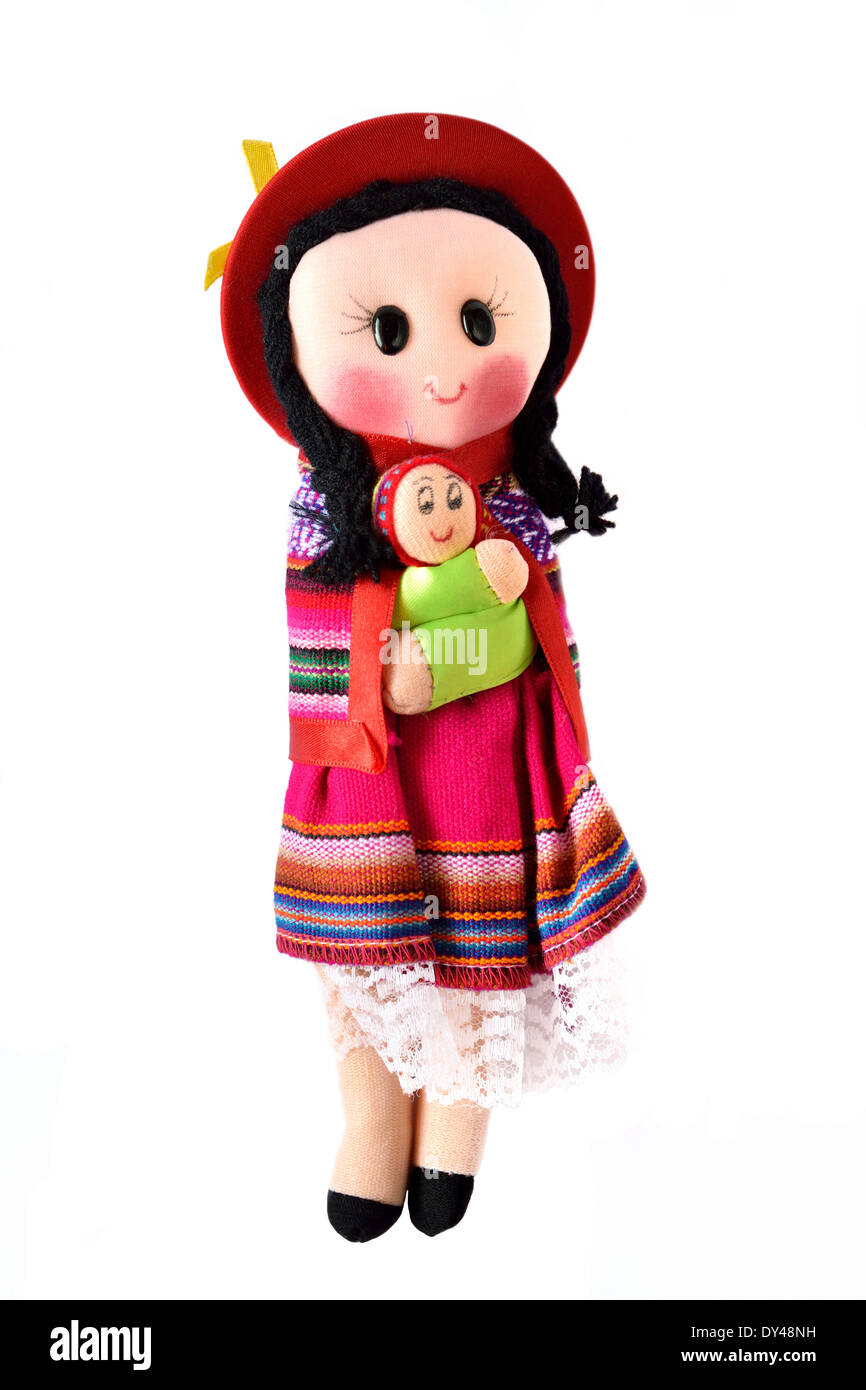 Indian (Mapuche) doll Chile whit baby - Stock Image