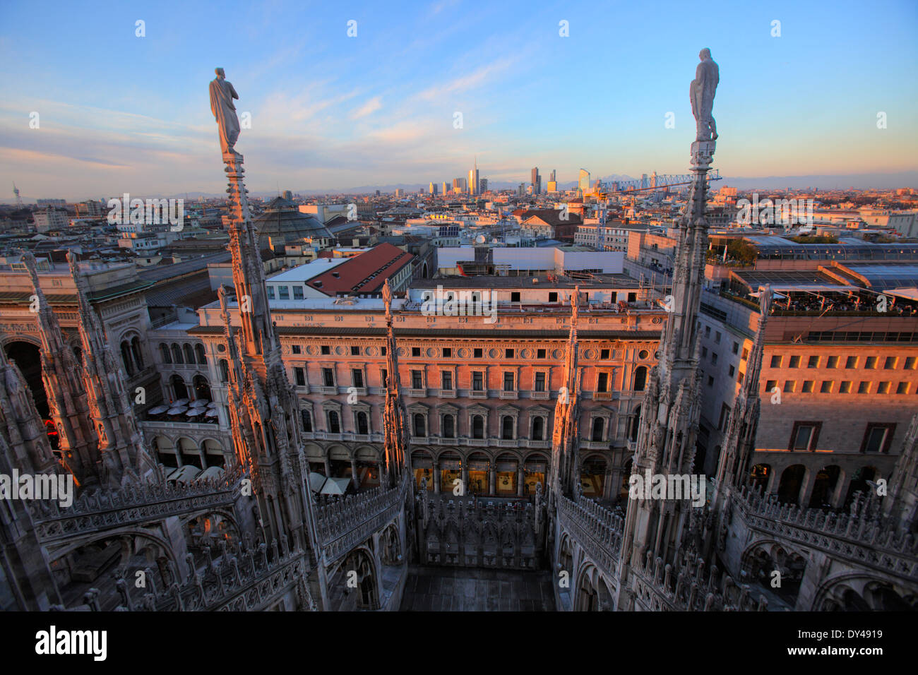 Cityscape of Milan from the top of the Cathedral (Duomo), Milan, Italy - Stock Image