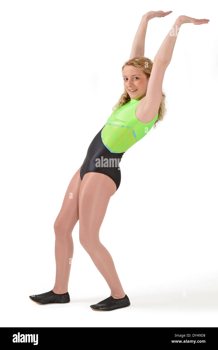 5759f2b77c95 Young woman wearing a gym leotard and shiny tights - Stock Image