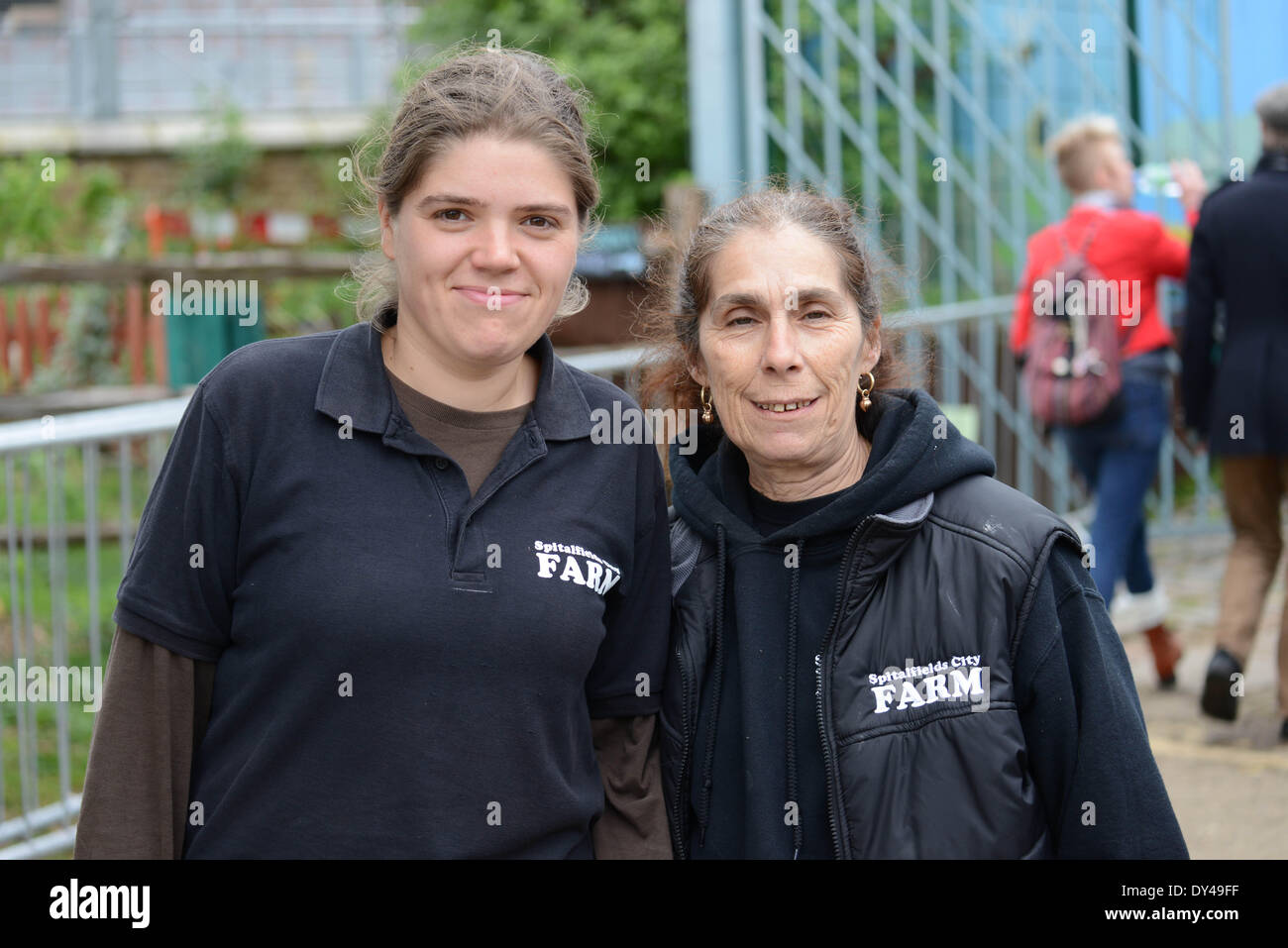 London, UK. 06th Apr, 2014. Staffs at The Oxford and Cambridge 'Goat Race' at the Spitalfields City Farm in London. Credit:  See Li/Alamy Live News - Stock Image