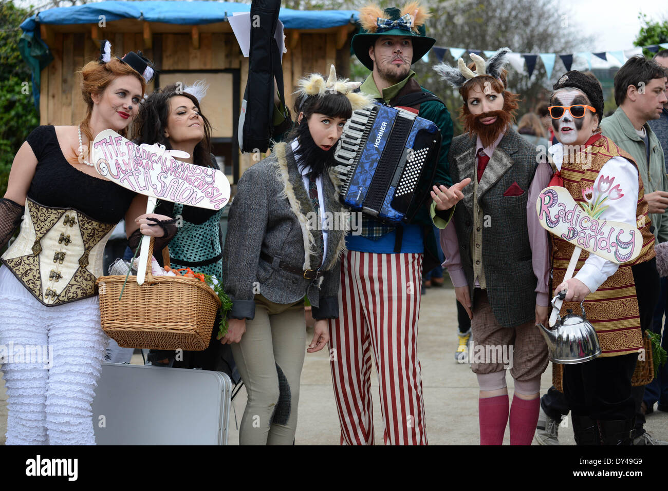 London, UK. 06th Apr, 2014. Entertainers at The Oxford and Cambridge 'Goat Race' at the Spitalfields City Farm in London. Credit:  See Li/Alamy Live News - Stock Image