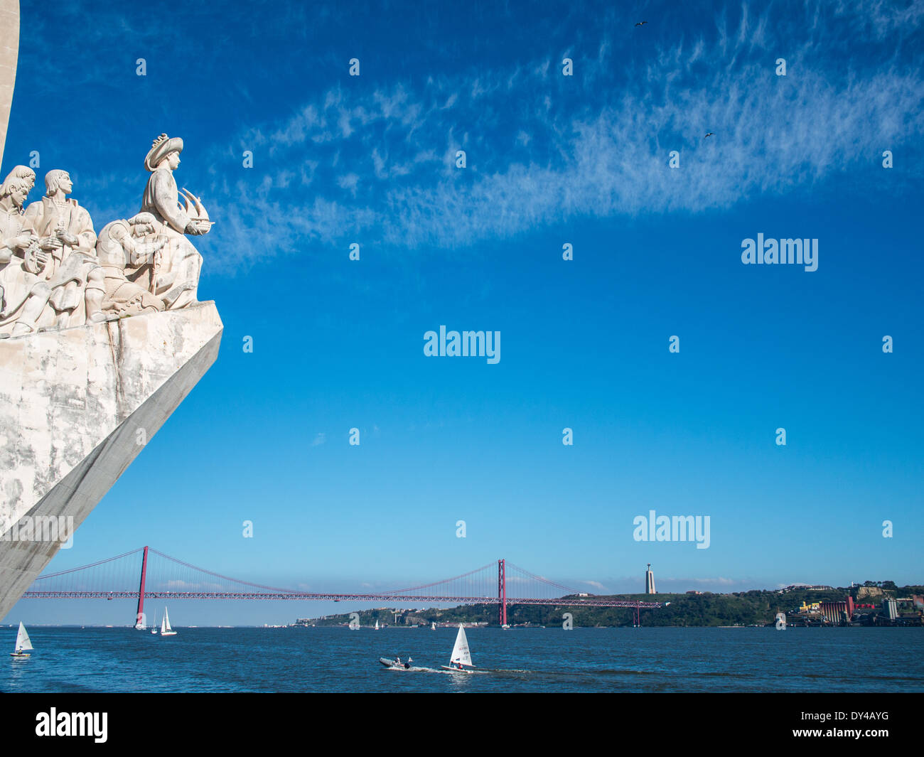 Tagus river and Discoveries Monument - Stock Image