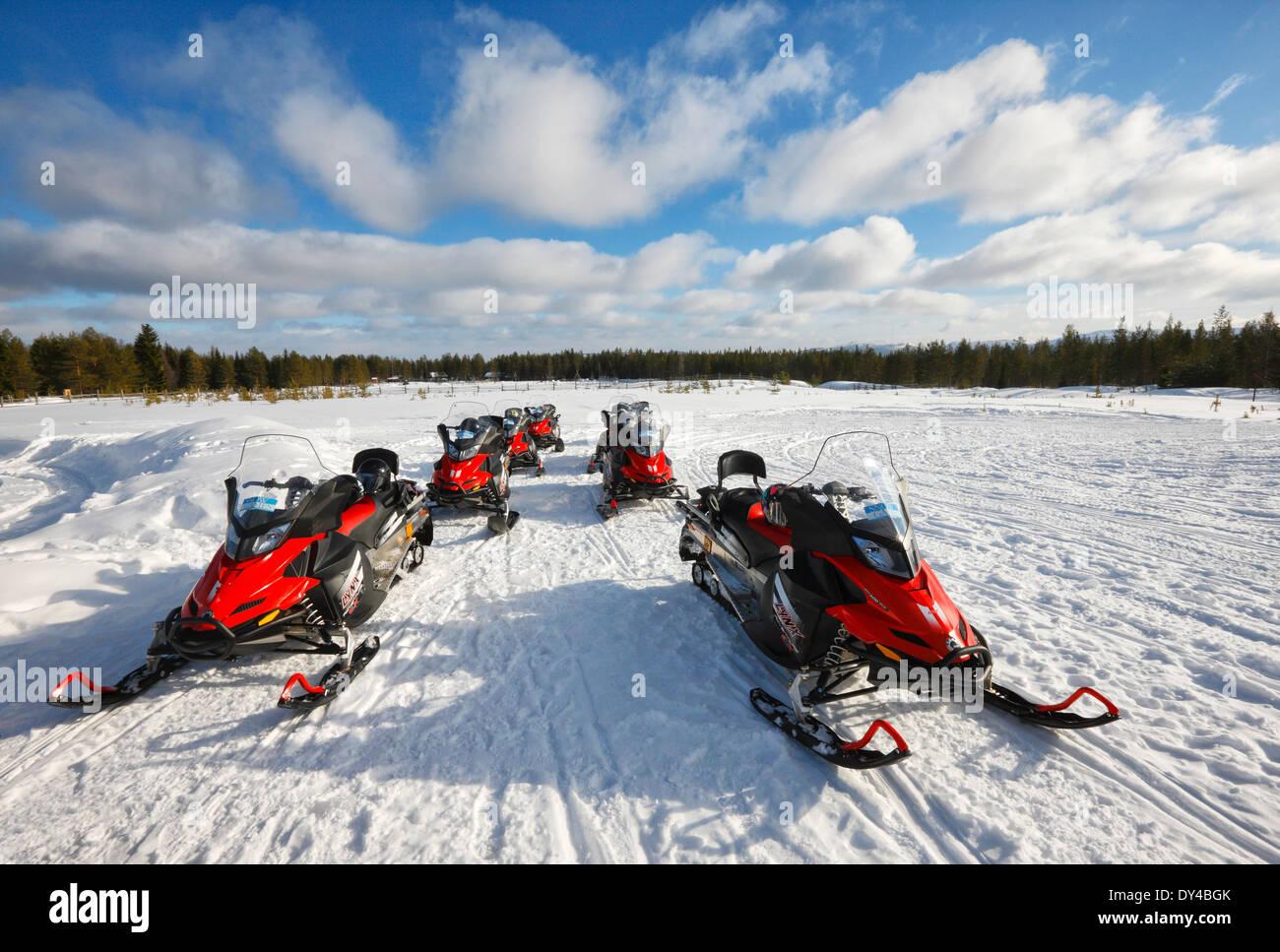 Snowmobiles, Luosto Kopara - Stock Image