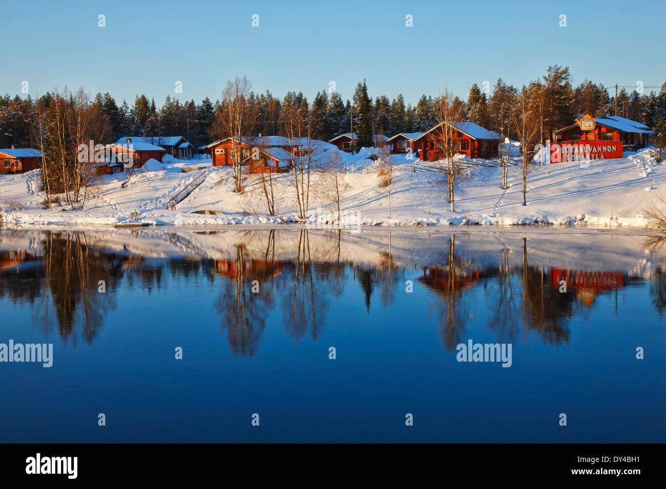 Finland, Lapland Peurasuvannon Lomakylä - Holiday Village - Stock Image