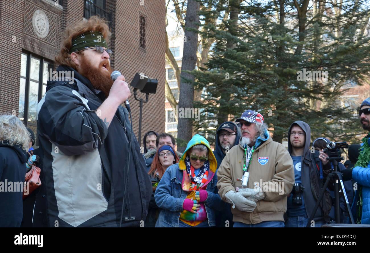 Iraq war veteran Dakota Serna speaks of the benefits of marijuana in managing his PTSD at the 43rd annual Hash Bash rally - Stock Image