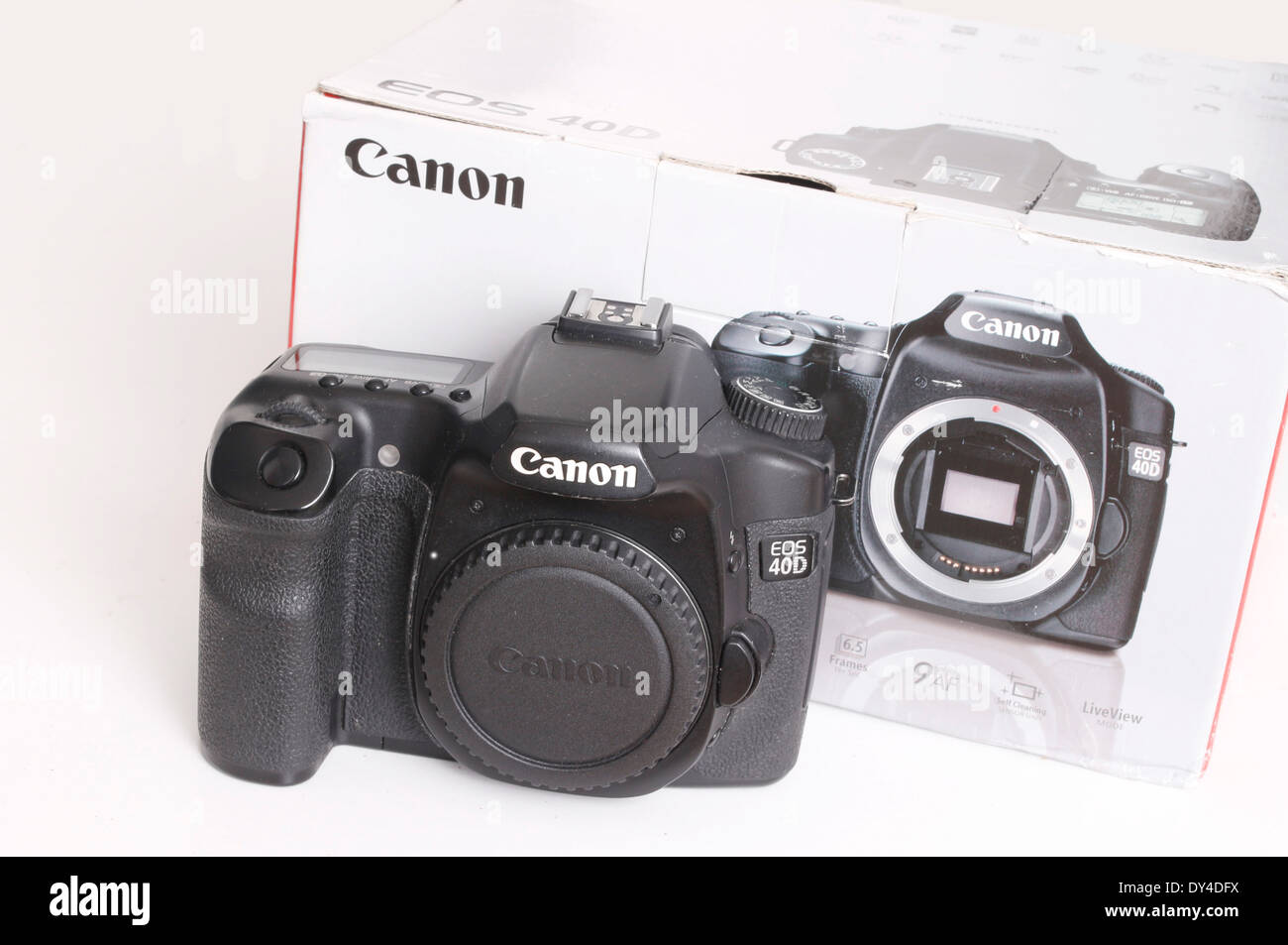 Canon 40D, an older quality digital slr camera body, shown with its box.