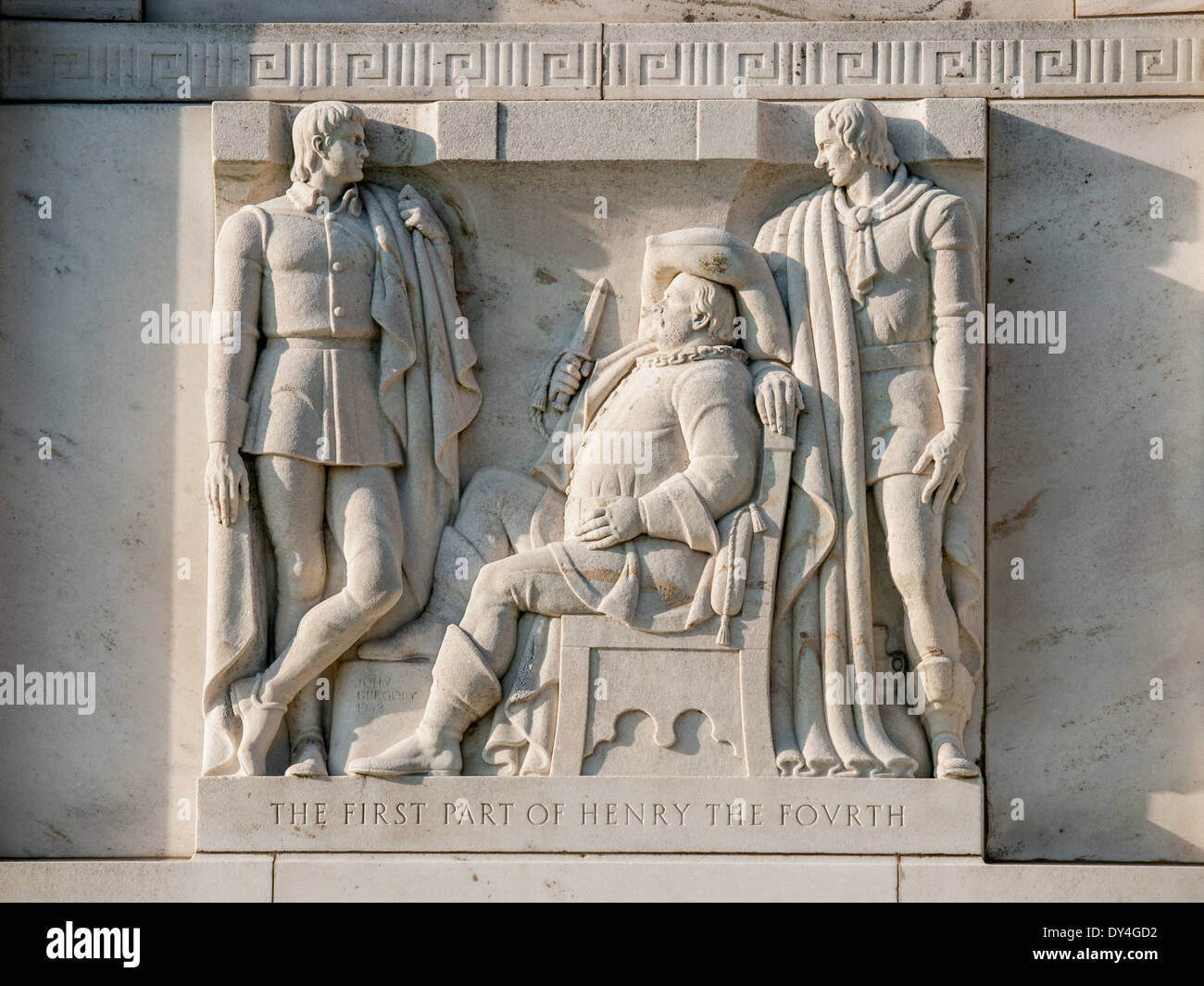Street-level bas-reliefs of scenes from Shakespeare's plays by the sculptor John Gregory - 'The First Part of Henry the Fourth' - Stock Image