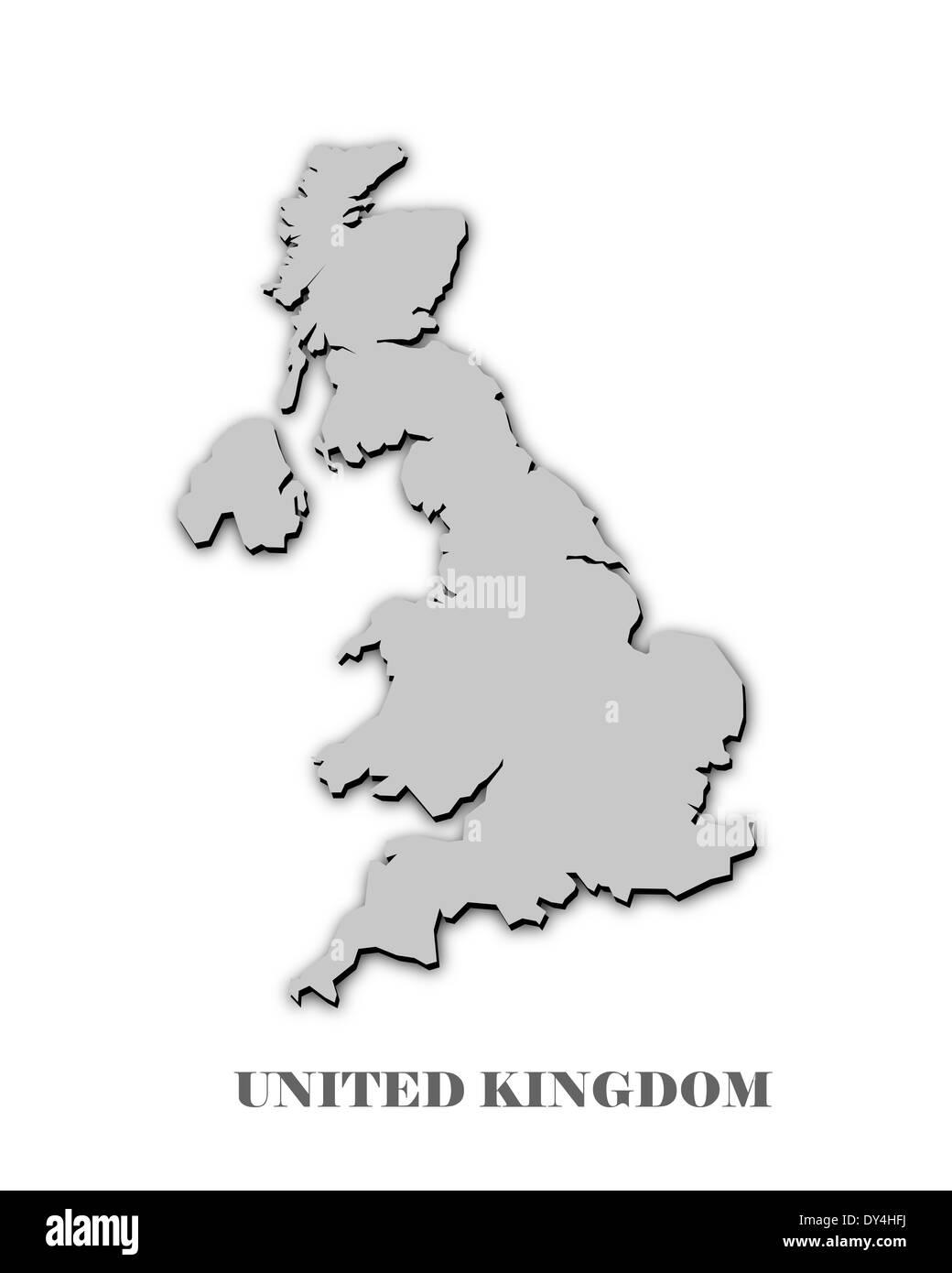 UNITED KINGDOM MAP on white - Stock Image