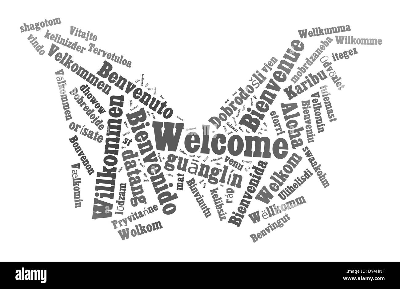 Welcome phrase in 78 different languages. Words cloud concept - Stock Image