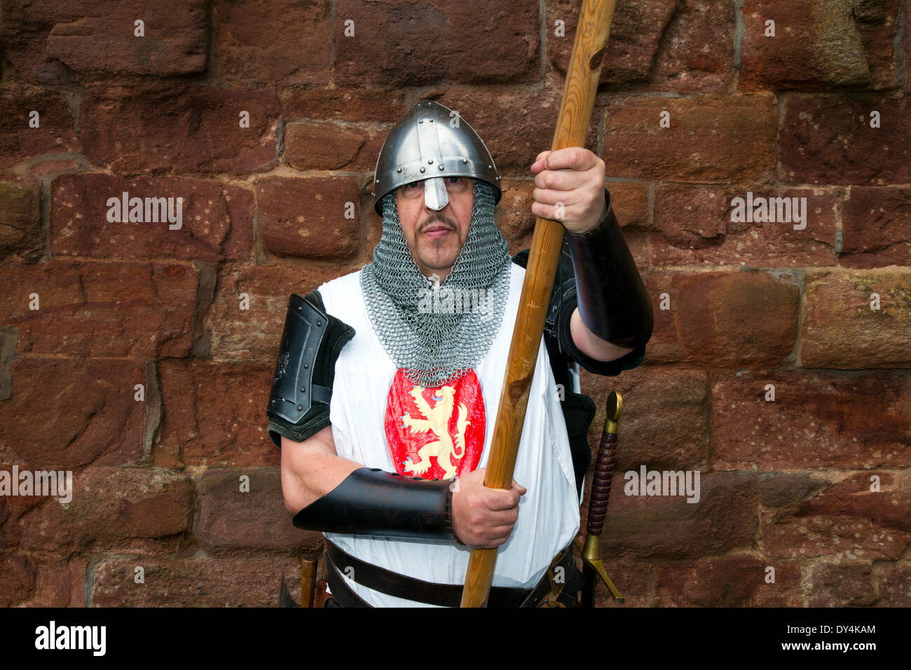 Performers and re-enactors at the Scottish Homecoming event.  'The Declaration of Arbroath' held at Arboath Abbey where the Nobles of Scotland, assembled in the ruins of Arbroath Abbey to commemorate the signing of the Declaration of Arbroath giving Scotland independence in 1320. - Stock Image
