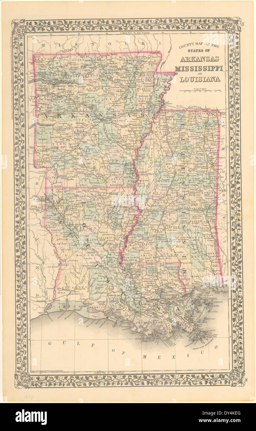 County map of the state of Arkansas, Mississippi, and Louisiana ...