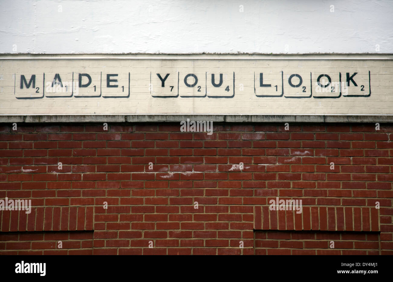 Made You Look Stencil Graffiti - London W11- UK - Stock Image