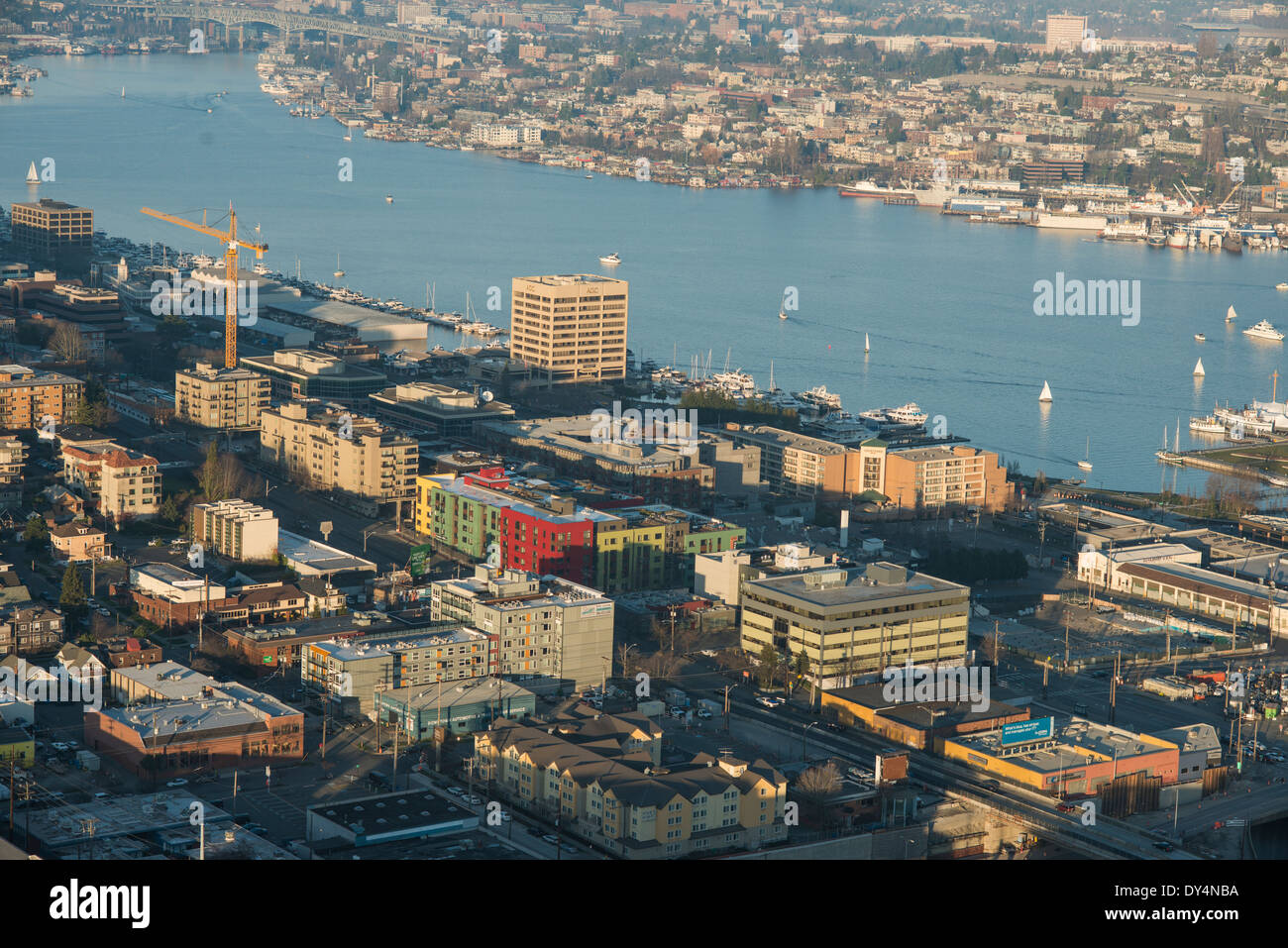 Aerial photo, seattle, USA, desaturated, view of buildings from the spaceneedle, lake union, city view Stock Photo